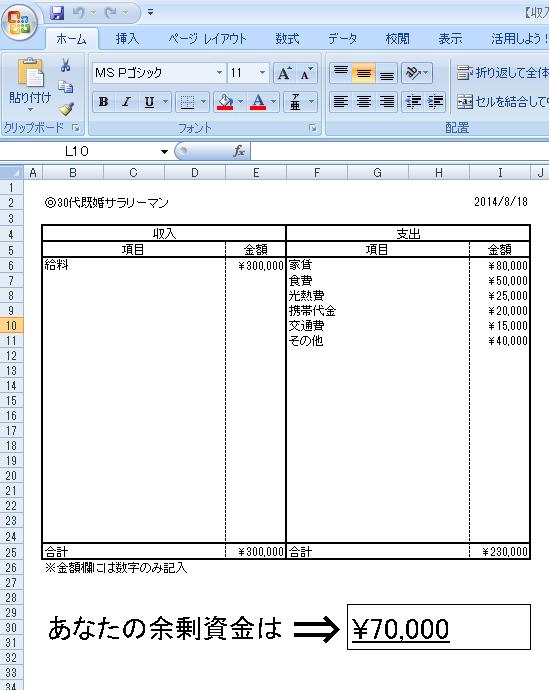 【収入・支出】簡単計算シート 参考例
